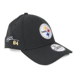 NFL スティーラーズ アントニオ・ブラウン キャップ/帽子 サイン刺繍 カスタマイズド 39THIRTY ニューエラ/New Era|selection-j