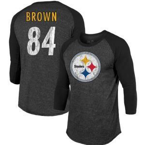 お取り寄せ NFL スティーラーズ アントニオ・ブラウン Tシャツ ヴィンテージ 3/4スリーブ マジェスティック/Majestic ブラック|selection-j
