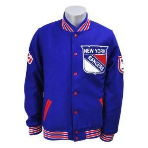 NHL レンジャース ジャケット ブルー ミッチェル&ネス Wool/Leather Varsity Front Snap ジャケット【1902セール解除】 selection-j