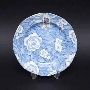 イギリスの陶器ブランド、バーレイのブルービクトリアンチンツの19cmプレート(デザートプレート)。 ...