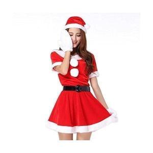 超かわいい   セクシー サンタ ミニワンピ 衣装 クリスマス コスプレ   サンタ 帽子 ベルト ふかふか 白手袋 4点 セット ポイント消化 selectshopbt
