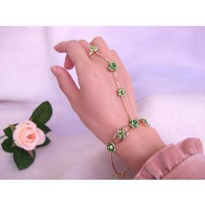 若草色 ブレスレットリング 薔薇のフォーマルアクセ|selectshopmarimari