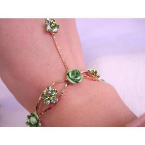 若草色 ブレスレットリング 薔薇のフォーマルアクセ|selectshopmarimari|02