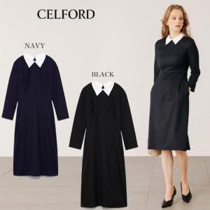 CELFORD  セルフォード 襟付きタイトワンピース  ■素 材■ 表地:ポリエステル70%、羊毛...