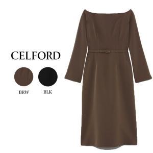CELFORD  セルフォード オフショル風Iラインワンピース  ■素 材■ ポリエステル89%、ポ...