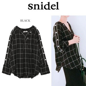 snidel スナイデル サイドボタンチェックシャツ swf...