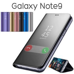 Galaxy Note 9 ケース 手帳型 半透明ミラー カバー SC-01L/SCV40 ギャラク...