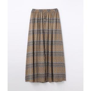 TOMORROWLAND / トゥモローランド レトロプリント ロングギャザースカート