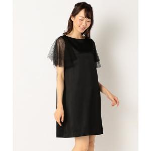 L size ONWARD(大きいサイズ) / エルサイズオンワード 【結婚式やパーティに】サテンコンビチュールレース ドレス|selectsquare