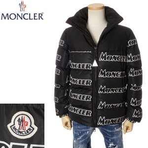 モンクレール ダウン メンズ MONCLER ダウンジャケット 総ロゴプリント ブラック 黒 091...
