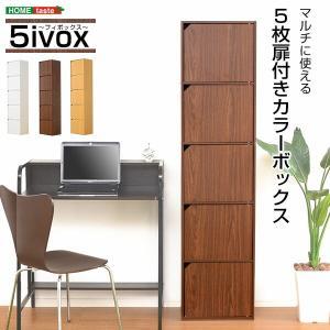 A4サイズ収納OK 扉付きカラーボックス -5ivox-フィボックス おしゃれ モノトン seles-eshop