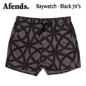 AFENDS,アフェンズ/2017年SUMMER/水陸両用・ベイウォッチ・ショーツ・サーフトランクス/BAYWATCH-BLACK 70'S・09-04-120-E/BLACK 70'S PRINT・ブラック|selfishsurf