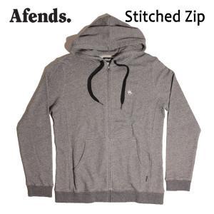 AFENDS,アフェンズ/17FA/ ジップアップパーカー/Stitched Zip・11-05-027-L/BLACK MARLE・ヘザーグレー/M・Lサイズ|selfishsurf