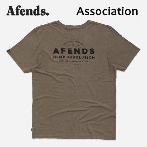 AFENDS,アフェンズ/19SP/半袖Tシャツ/ASSOCIATION・M191015/COVERT GREEN・オリーブ/Mサイズ/HEMP・ヘンプコレクション/麻/バイロン/スタンダードフィット|selfishsurf