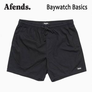 AFENDS,アフェンズ/19SP/水陸両用・ベイウォッチ・ショーツ・サーフトランクス/BAYWATCH BASICS/BLACK・ブラック/メンズ/無地|selfishsurf