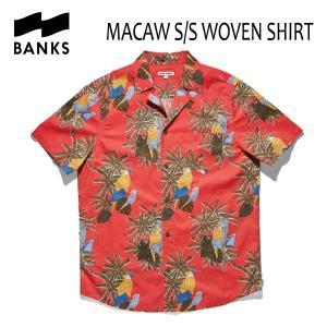 BANKS,バンクス/18SP/ S/S シャツ・半袖シャツ/MACAW WOVEN SHIRT・ASS0056/CORAL・コーラル/S・Mサイズ/メンズ/アロハシャツ|selfishsurf