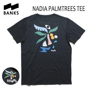 BANKS,バンクス/18FA/ S/S Tシャツ・半袖Tシャツ/NADIA PALMTREES TEE-SHIRT・ATS0293/DIRTY BLACK・ブラック/S・M・Lサイズ/メンズ/アートTee|selfishsurf