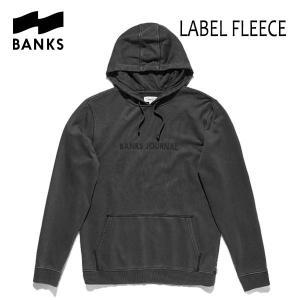 BANKS,バンクス/18FA/プルオーバーパーカー/LABEL FLEECE PULLOVER・AFL0133/DIRTY BLACK・ブラック/ロゴ/メンズ|selfishsurf