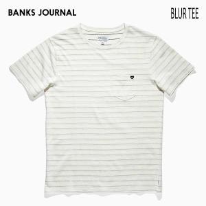 BANKS,バンクス/19SP/ S/S Tシャツ・半袖Tシャツ/BLUR TEE-SHIRT・ATS0324/OFF WHITE・オフホワイト/メンズ/オーガニックコットン/ボーダー/ハートロゴ|selfishsurf