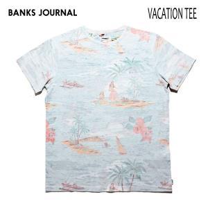 BANKS,バンクス/19SP/ S/S Tシャツ・半袖Tシャツ/VACATION TEE-SHIRT・ATS0348/OFF WHITE・オフホワイト/メンズ/オーガニックコットン/総柄/ハワイアン|selfishsurf