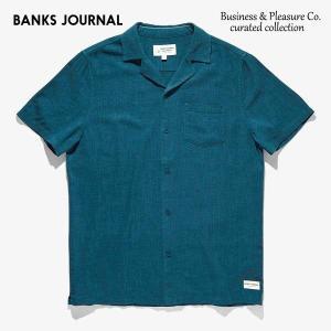 BANKS,バンクス/19SP/半袖シャツ/Business & Pleasure Co Linen Woven SHIRT・WSS0088/SLATE/メンズ/コットンシャツ/無地/開襟シャツ/サーフ|selfishsurf