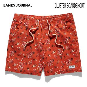 BANKS,バンクス/19SP/ボードショーツ・サーフトランクス/CLUSTER BOARDSHORT・BS0181/WASHED RED・レッド/28・30・32インチ/メンズ/総柄/花柄/ELASTIC|selfishsurf