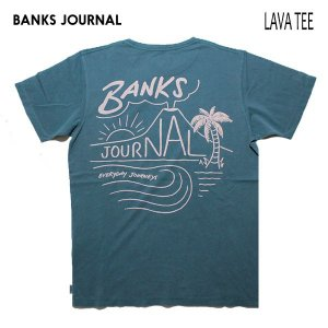 BANKS,バンクス/19SU/ S/S Tシャツ・半袖Tシャツ/LAVA TEE-SHIRT・ATS0373/SLATE・ブルーグリーン/メンズ/オーガニックコットン/パームツリー/サーフ|selfishsurf