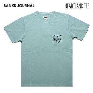 BANKS,バンクス/19SU/ S/S Tシャツ・半袖ポケットTシャツ/HEARTLAND TEE-SHIRT・ATS0381/MIST GREEN・グリーン/メンズ/オーガニックコットン/ハートロゴ|selfishsurf