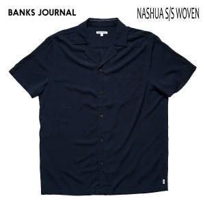 BANKS,バンクス/19SP/ S/S シャツ・半袖シャツ/NASHUA S/S WOVEN SHIRT・ASS0089/DIRTY DENIM・ネイビー/S・Mサイズ/メンズ/開襟シャツ/無地|selfishsurf