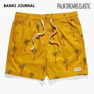 BANKS,バンクス/19SU/ボードショーツ・サーフトランクス/PALM DREAMS BOARDSHORT・BS0190/SUNSET・マスタード/メンズ/パームツリー/シンプル/ELASTIC|selfishsurf