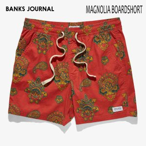 BANKS,バンクス/19SU/ボードショーツ・サーフトランクス/MAGNOLIA BOARDSHORT・BS0192/VINTAGE RED・レッド/メンズ/ペイズリー/シンプル/ELASTIC|selfishsurf