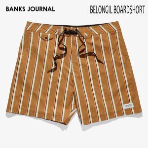 BANKS,バンクス/19SU/水陸両用・ボードショーツ・サーフトランクス/BELONGIL BOARDSHORT・BS0197/TOBACCO・オレンジ/ストライプ/2wayストレッチ/メンズ|selfishsurf