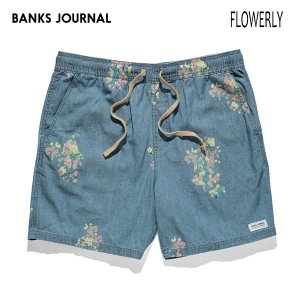 BANKS,バンクス/19SU/ウォークショーツ・ボトムス/FLOWERLY CHAMBRAY ELASTIC WALKSHORTS・WS0116/GLACIER BLUE・ブルー/28・30インチ/メンズ/花柄/シャンブレー|selfishsurf