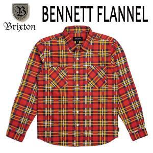 BRIXTON・ブリクストン/17FA/長袖シャツ,フランネルシャツ/BENNETT L/S FLANNEL/RED/GOLD・レッド×ゴールド/S・Mサイズ/STANDARD FIT selfishsurf