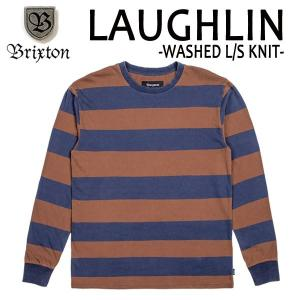 BRIXTON,ブリクストン/17FA/ L/S tee,長袖Tシャツ/LAUGHLIN WASHED L/S KNIT・Standard Fit/NAVY/BROWN・ネイビー×ブラウン/(USサイズ)S・Mサイズ selfishsurf