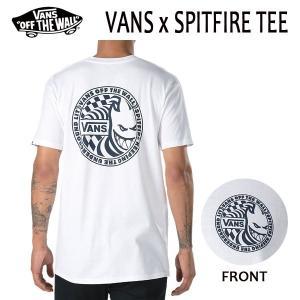 VANS,バンズ/18SP/ S/STee,半袖Tシャツ/VANSxSPITFIRE T-SHIRT・CLASSIC FITライン/WHITE・ホワイト/S・Mサイズ/スピットファイアー|selfishsurf