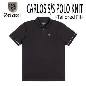 BRIXTON・ブリクストン/19SP/半袖ポロシャツ/CARLOS S/S POLO KNIT/BLACK・BLACKブラック/S・Mサイズ/メンズ/ロゴ/無地|selfishsurf