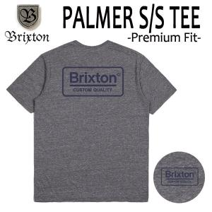 BRIXTON,ブリクストン/19SP/ S/Stee,半袖Tシャツ/PALMER・Premium Fit/HEATHER GREY/BLUE・ヘザーグレー/(USサイズ)S・Mサイズ/メンズ/ロゴ|selfishsurf