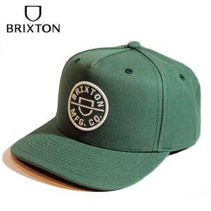 BRIXTON,ブリクストン/21SU/CAP,キャップ/CREST C MP SNAPBACK/COWHIDE/SILVER PINE・グリーン/フリーサイズ/メンズ/ワッペン|selfishsurf