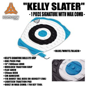 KOMUNITY PROJECT,コミュニティー プロジェクト/DECK PAD,TRACTION,デッキパット/KELLY SLATER SIGNATURE 1PIECE MODEL With Wax Comb-360MM-/BLUE/WHITE/BLACK selfishsurf