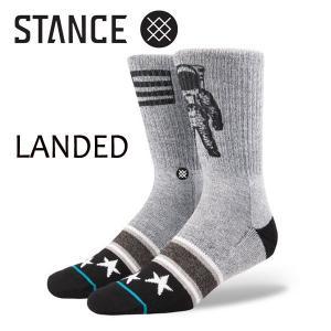STANCE・スタンス/SOCKS・靴下・ソックス/17FA/THE CLASSIC CREW・LANDED/GRY・グレー/L(25-29cm)/FOUNDATION|selfishsurf