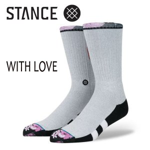 STANCE・スタンス/SOCKS・靴下・ソックス/17HO/THE CLASSIC CREW・WITH LOVE/GRY・グレー/L(25.5-29cm)/BLUE COLLECTION|selfishsurf