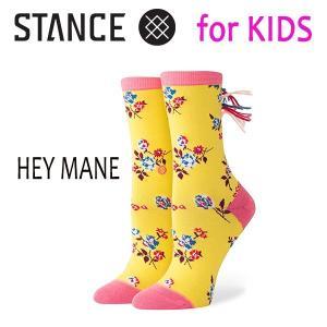 STANCE・スタンス/子供用靴下・キッズソックス/18FA/EVERYDAY LIGHT・HEY MANE GIRLS/YEL・イエロー/YOUTH L(19.5-23.0cm)/女の子/花柄|selfishsurf