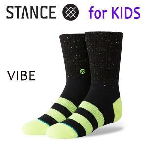 STANCE・スタンス/子供用靴下・キッズソックス/18HO/THE CLASSIC LIGHT・VIBE BOYS/BLK・ブラック/Y-M(16.5-19.5cm)・Y-L(19.5-23cm)/ボーダー/ネオンカラー|selfishsurf