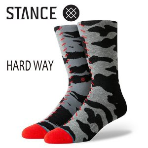 STANCE・スタンス/SOCKS・靴下・ソックス/19SP/THE CLASSIC CREW・HARD WAY/GRY・グレー/L(25-29cm)/迷彩/カモ柄/ANTHEM|selfishsurf