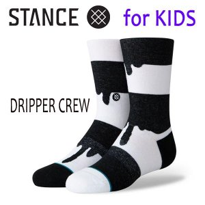 STANCE・スタンス/子供用靴下・キッズソックス/19SP/THE CLASSIC LIGHT・DRIPPER CREW/BLK・ブラック×ホワイト/ボーダー|selfishsurf