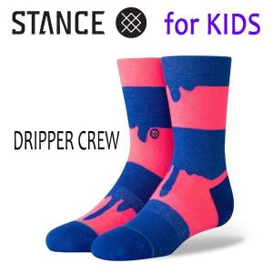 STANCE・スタンス/子供用靴下・キッズソックス/19SP/THE CLASSIC LIGHT・DRIPPER CREW/BLU・ブルー×ネオンピンク/ボーダー|selfishsurf