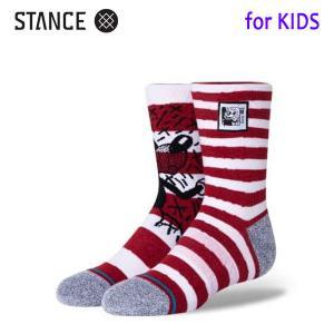 STANCE・スタンス/子供用靴下・キッズソックス/20HO/THE CLASSIC LIGHT・MICKEY HARING MIX KIDS/RED・レッド/ディズニーxキース・ヘリングコラボ selfishsurf