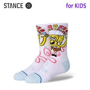 STANCE・スタンス/子供用靴下・キッズソックス/21SP/THE CLASSIC CREW・IMAGINATION BOB KIDS/WHT・ホワイト/スポンジボブ コラボ selfishsurf