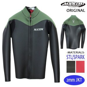 MAXIM CRAFTSUITS/19年プロショップ限定モデル/ウェットスーツ/男性用/ロングスリーブジャケット/フロントジップ/ブラックスキン/カーキ/ラバー/クラシック|selfishsurf